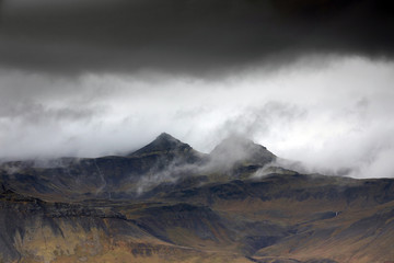 Wall Mural - Stormy icelandic landscape in Iceland, Europe