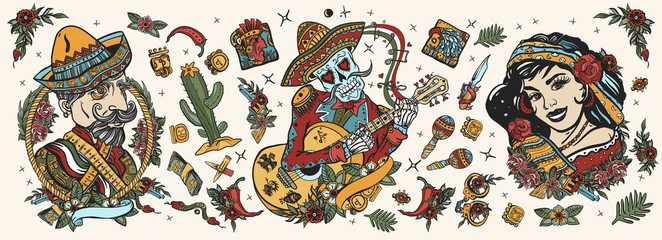 Mexico. Skeleton with guitar, mexican woman, bandit. Day Of Dead art. Old school tattoo vector collection. National culture and people. Traditional tattooing style