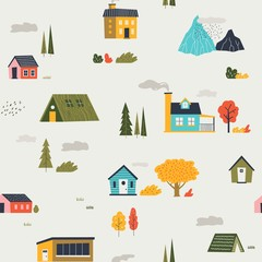Cute houses pattern. Funny cartoon kids seamless texture with tiny houses trees and mountain. Vector trendy flat print city or village template with clouds, drawing texture for design wallpaper
