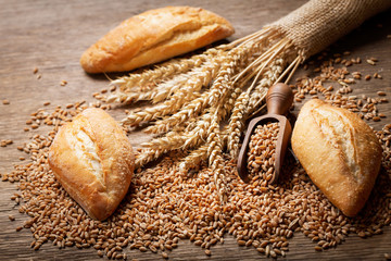 fresh bread with wheat ears and grains