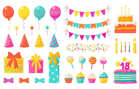 Birthday decoration. Kids party design elements, confetti balloons cakes colorful paper ribbons candles. Vector celebration birthday set with flag and balloons for happy baby holiday illustration