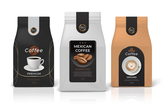 Coffee package mockup. Realistic food pack mockup with brand identity design, black white and brown paper zip packages. Vector set emblem little glossy bag for brand layout retail