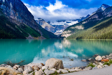 Lake Louise reflections in the lake water in Canadian Rockies