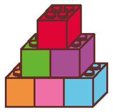 Pile of lego blocks on white background