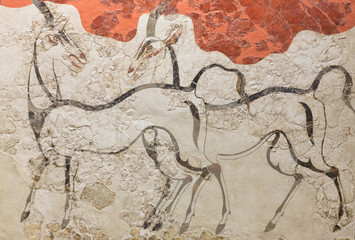 Wall painting - ancient fresco with wild antelopes from palace of Minoan Settlement at Akrotiri, located on the Santorini island, Cyclades, Greece Fotomurales