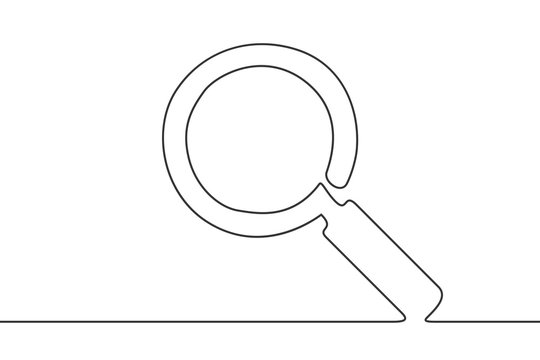 One line art drawing of magnifier.
