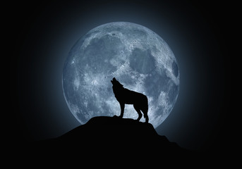Silhouette of a howling wolf on a background of the full moon