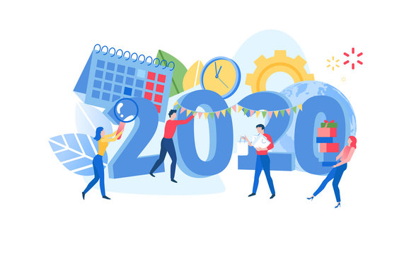 Infographic banner template with people, clock, calendar and 2020 date. Project planning, scheduling, time management. New Years corporate party. Modern flat vector illustration.