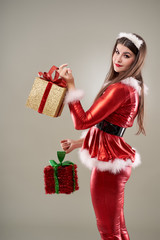 Santa girl with presents to give