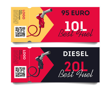 Fuel torn off cards or advertising flayers with fuel gun illustration for types of gas and volume of liters and qr code, ready template