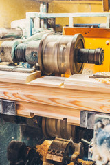 Sharp cutter quickly rotates wood in production - sawmill in action