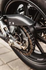 Motorcycle Chain Drive - Rear Wheel Closeup