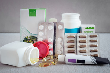 Pharmacy and medicine: different types of dosage forms.