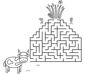 Black coloring pages with maze. Cartoon cow and grass. Kids education art game. Template design with pet on white background. Outline vector