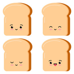 Cute toasts bread kawaii cartoon styly set isolated on white background.
