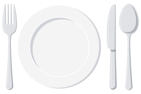 Empty white plate with spoon, knife and fork isolated on a white background.