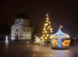 Holiday decorations of New Town market in Warsaw. Poland
