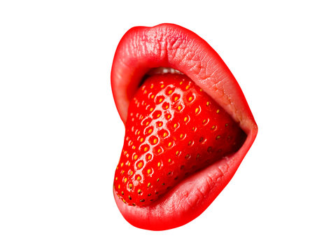 Tongue. Close up isolated female mouth and lips. Sweet tongue out. Female showing tongue. Sensual womans lips.