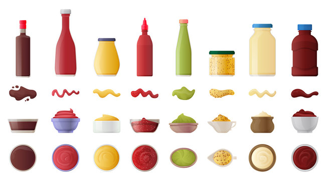Sauce for bbq realistic vector set icon.Vector illustration icon ketchup and dip. Isolated illustration set bottle and bowl sauce.