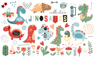 Estores personalizados com sua foto Cute dinosaurs and floral collection - leaves, flowers, plants. Hand drawn. Doodle cartoon dino characters for nursery posters, cards, kids t-shirts. Vector illustration. Isolated on white background.