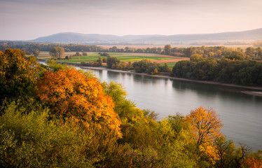 Beautiful Autumn Landscape with Danube River as Seen from Devin Castle