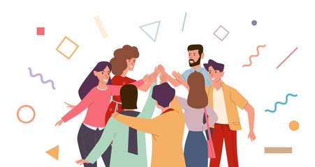 Friends doing high five. Cheerful friends and colleagues give informal greeting. Team people expression joy high five together vector concept