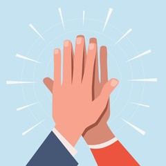 High five hands. Two hands giving high five informal greeting with friendly partners, great work achievement. Team success vector concept