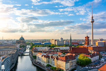 Wall Murals Berlin Berlin cityscape with Berlin cathedral and Television tower, Germany