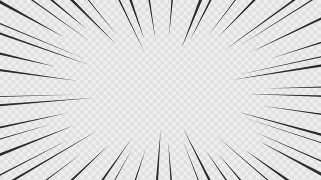 Background of comic book action lines. Speed lines Manga frame isolated on transparent background. Vector graphic design