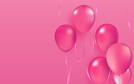 Realistic vector Party balloons pink romantic love elegance Valentine's Day 14th february decoration birthday celebration elegance greeting card design element isolated on pink background