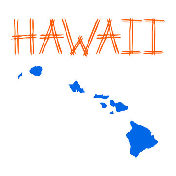 Isolated colorful Hawaii map - Eps10 vector graphics and illustration
