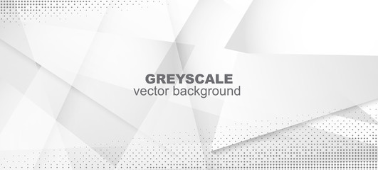 Halftone Dynamic Gray Vector Background. Minimal Faded Banner.