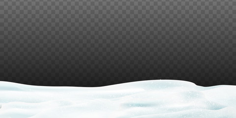 Fotomurales - Snowy landscape with snow-covered hills isolated on dark transparent background. Vector illustration of winter decoration. Snow background. Snow hills background. Snowdrift design element.