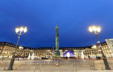 Vendome column with statue of Napoleon Bonaparte, on the Place Vendome at night, Paris, France.