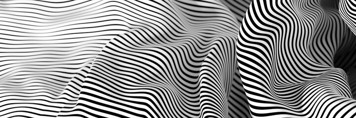 Fototapete - Abstract striped surface, black and white original 3d rendering