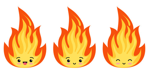 Emoji fire flames icon set isolated on a white background.