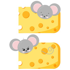 Cute mouse pick out of cheese set isolated on white background.