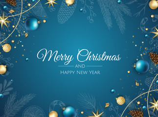 Merry Christmas background with christmas element. Vector illustration