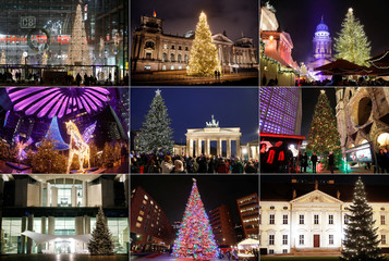 A combination picture shows illuminated Christmas trees in different locations in Berlin