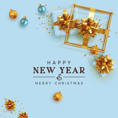 Happy New Year holiday gift card. Festive Design Xmas present, blue and gold gift boxes, 3d hollow gift-shaped cube, bauble balls, glitter gold confetti. Greeting Merry Christmas