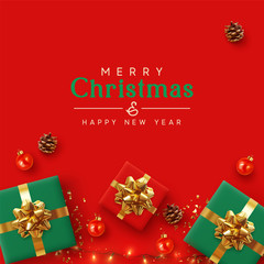 Christmas banner. Background Xmas design of realistic red and green gifts box, golden glitter confetti, bauble ball, light garlands. Horizontal New Year poster, greeting card, headers for website