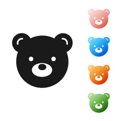 Black Teddy bear plush toy icon isolated on white background. Set icons colorful. Vector Illustration