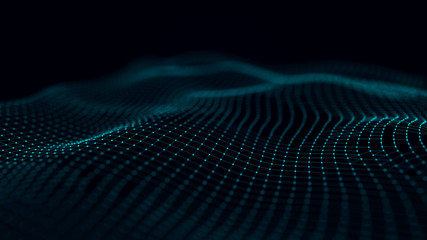 Fotobehang Fractal waves Futuristic background of dots and lines with a dynamic wave. Big data. 3d rendering. 4k.