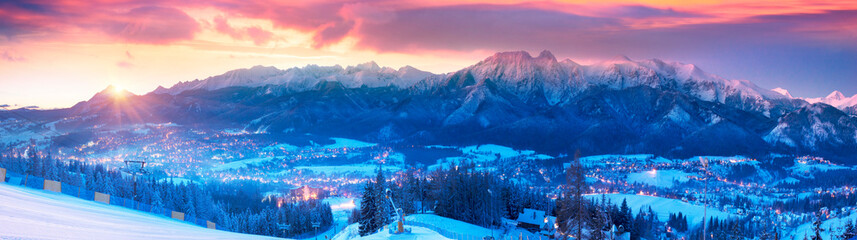 Zakopane at night in the light of the moon.