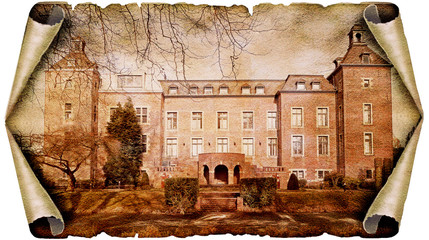 Castle Neersen at Willich on old paper roll