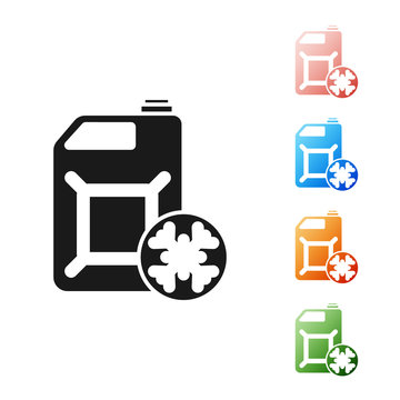 Black Antifreeze canister icon isolated on white background. Auto service. Car repair. Set icons colorful. Vector Illustration