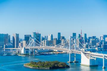 Photo sur Aluminium Bleu jean Tokyo cityscape, Japan Bay Area 東京ベイエリア 台場から見た東京の風景