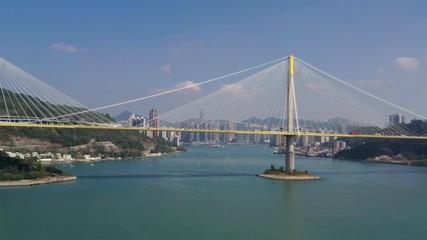 Wall Mural - Drone fly over Ting Kau Bridge in Hong Kong
