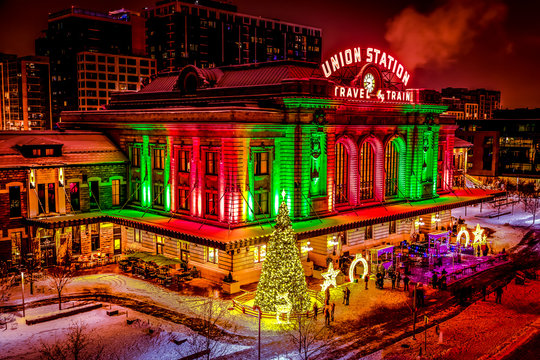 Holiday lighting of Denver Union Station