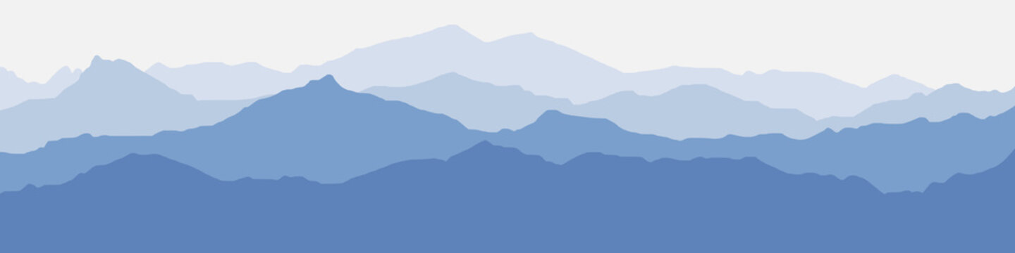 Vector illustration of mountains, ridge in the morning haze, panoramic view
